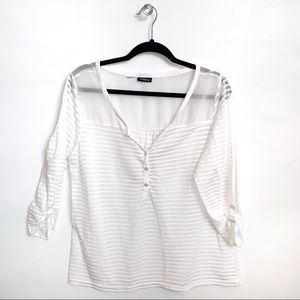 Torrid | White Sheer Striped 3/4 Sleeve Top